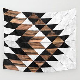 Urban Tribal Pattern No.9 - Aztec - Concrete and Wood Wall Tapestry