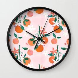 Orange Blossoms Wall Clock