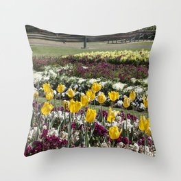 Tulips in the park Throw Pillow