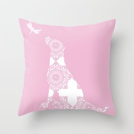 Labrador Dog on pink with dragon fly Throw Pillow