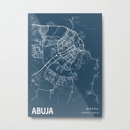 Abuja Blueprint Street Map, Abuja Colour Map Prints Metal Print