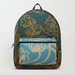 Art Nouveau,teal and gold Backpack
