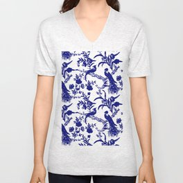 Royal french navy peacock Unisex V-Neck
