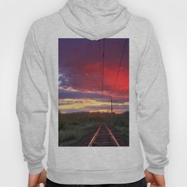 Northern sunset and a railway Hoody