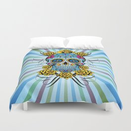 Sugar skull- Day of the dead- blue Duvet Cover