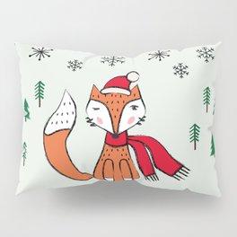 Cute little  Fox in a winter landscape Pillow Sham