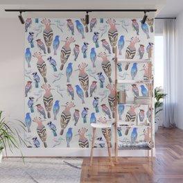 Birds watercolor in tetrad color scheme Wall Mural