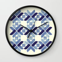nordic Wall Clocks featuring Nordic Blue by Kata