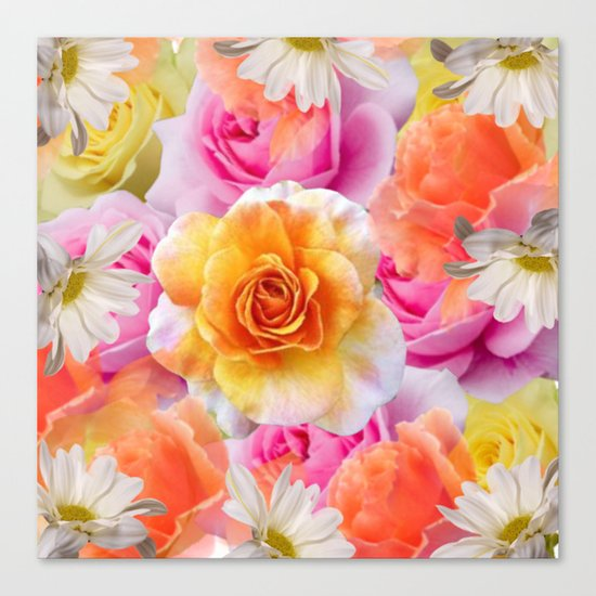 Spring Flowers Galore Absstract Canvas Print