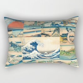 """Hokusai's """"The Great Wave"""" and other Images from his Series """"Thirty-six Views of Mount Fuji"""" Rectangular Pillow"""
