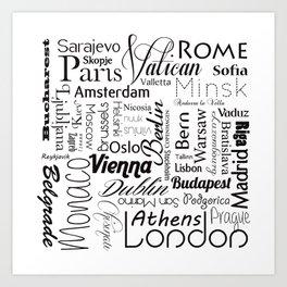 European capitals on white Art Print