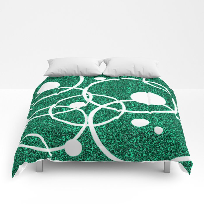 Circles on Green and Black Comforters