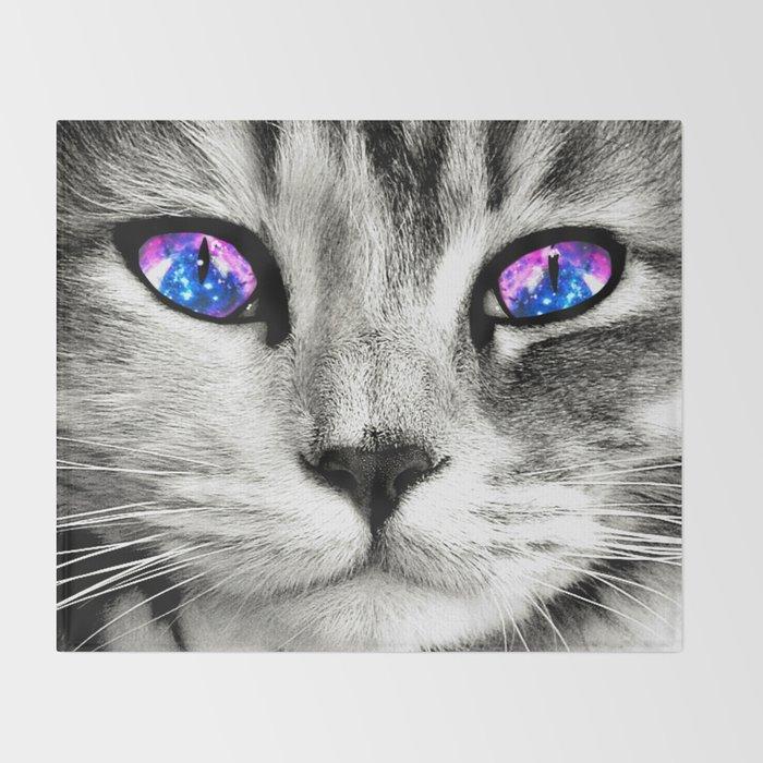 Galaxy Cat Throw Blanket