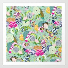 Chinoiserie Decorative Floral Motif Pale Mint Art Print