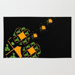 Orange and Green Spaces 110 Rug