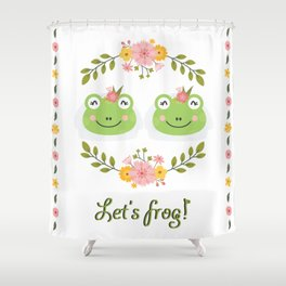 Let's frog! Funny lesbian frogs couple Shower Curtain