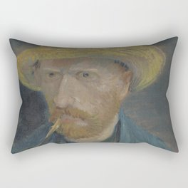 Self-Portrait with Straw Hat and Pipe Rectangular Pillow