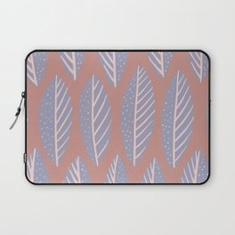 Gray and Pink Leaves Pattern Laptop Sleeve