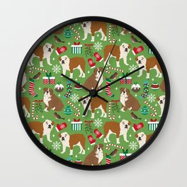 English Bulldog christmas pattern print pet friendly pet portrait dog art Wall Clock