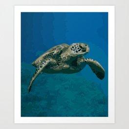 Sea Turtle Ocean blue Water Art Print