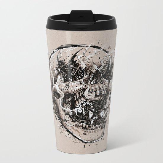 skull with demons struggling to escape Metal Travel Mug