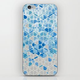 Cubes & Diamonds in Blue & Grey  iPhone Skin