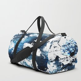 Blue sapphire and opal marbled abstract Duffle Bag