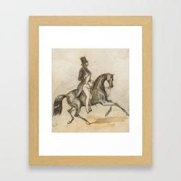 Constantin-Ernest-Adolphe-Hyacinthe Guys   1802 - 1892   PRESUMED PORTRAIT OF THE COMTE D'ORSAY RIDI Framed Art Print
