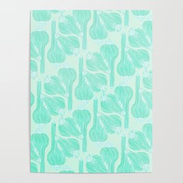 Garlics Pattern in Pastel Green Poster
