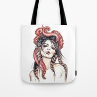 octopus Tote Bags featuring Octopus by Nora Bisi
