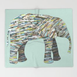 Elephant Paper Collage in Gray, Aqua and Seafoam Throw Blanket