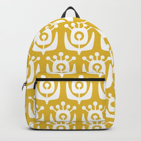 Mid Century Modern Retro Flower Pattern Mustard Yellow by tonymagner