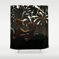 fireworks Shower Curtains featuring Fireworks! by Pencil Box Illustration