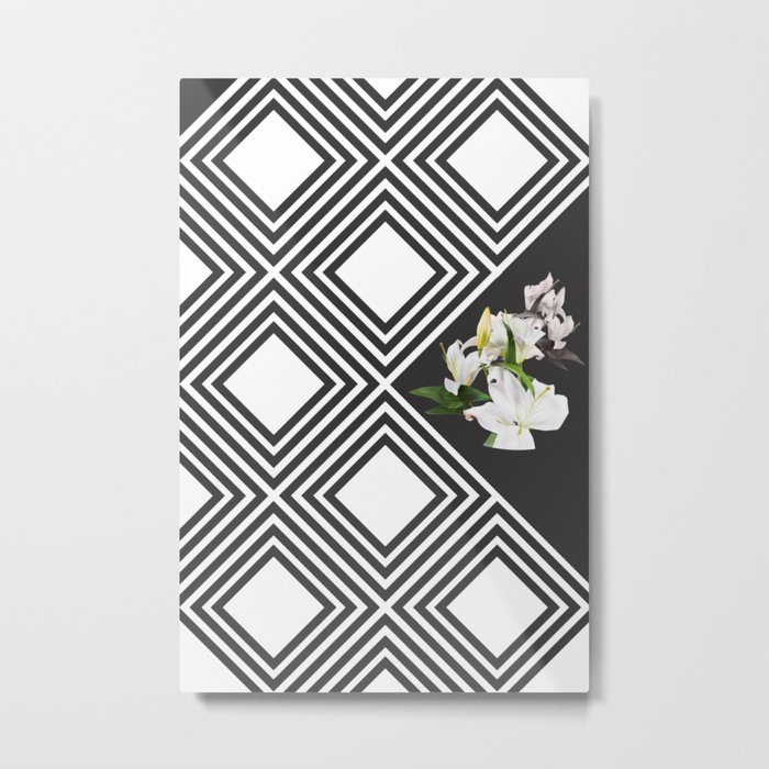 Square tiling patterns & white flowers Metal Print