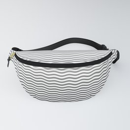 Black And White Fade Ombre Shaded Wave Fanny Pack