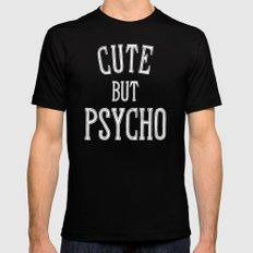 Cute But Psycho Mens Fitted Tee Black MEDIUM