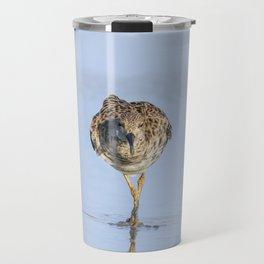 Ruff water bird (Philomachus pugnax) Ruff in water Travel Mug