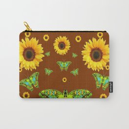 COFFEE BROWN SUNFLOWERS & GREEN MOTHS Carry-All Pouch