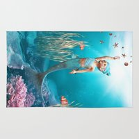 the little mermaid Area & Throw Rugs featuring Little Mermaid by Simone Gatterwe
