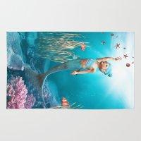 little mermaid Area & Throw Rugs featuring Little Mermaid by Simone Gatterwe