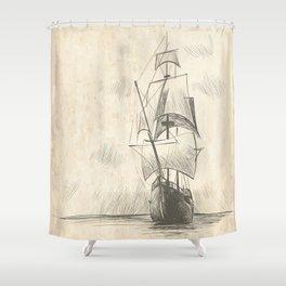 Vintage hand drawn galleon background Shower Curtain