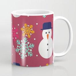 Winter/Christmas - Snowmen And Colorful Snow Crystals Coffee Mug