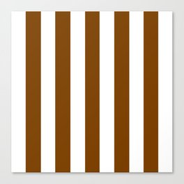 Chocolate (traditional) brown - solid color - white vertical lines pattern Canvas Print