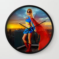 supergirl Wall Clocks featuring Supergirl by Shana-e