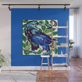 Art Nouveau Heraldic Eagle, Cobalt Blue and Green Wall Mural