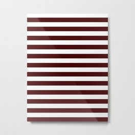 Narrow Horizontal Stripes - White and Bulgarian Rose Red Metal Print