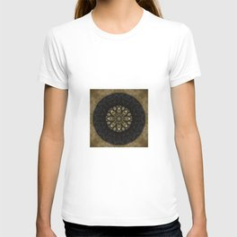 Boho chic Gold Lace Black  Flower Mandala T-shirt