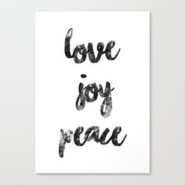 Christmas Quote Love Joy Peace Canvas Print