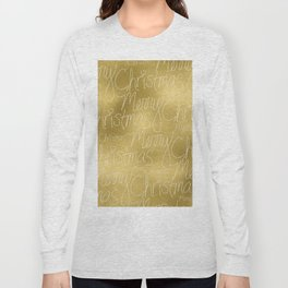 Merry christmas- christmas typography on gold pattern Long Sleeve T-shirt