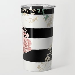 VINTAGE FLORAL ROSES BLACK AND WHITE STRIPES Travel Mug